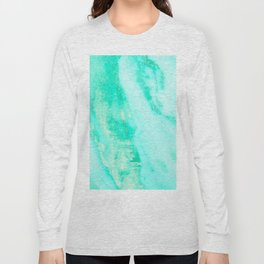 Shimmery Sea Green Turquoise Marble Metallic Long Sleeve T-shirt