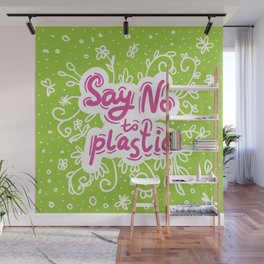 Say no to plastic.  Pollution problem, ecology banner poster. Wall Mural