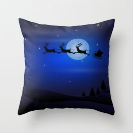 Santa's sleigh ride Throw Pillow