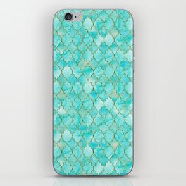 Luxury Aqua Teal and Gold oriental quatrefoil pattern iPhone Skin