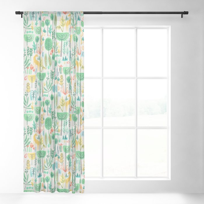 Jungle life with golden unicorn Sheer Curtain