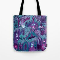 house Tote Bags featuring December House by Valeriya Volkova
