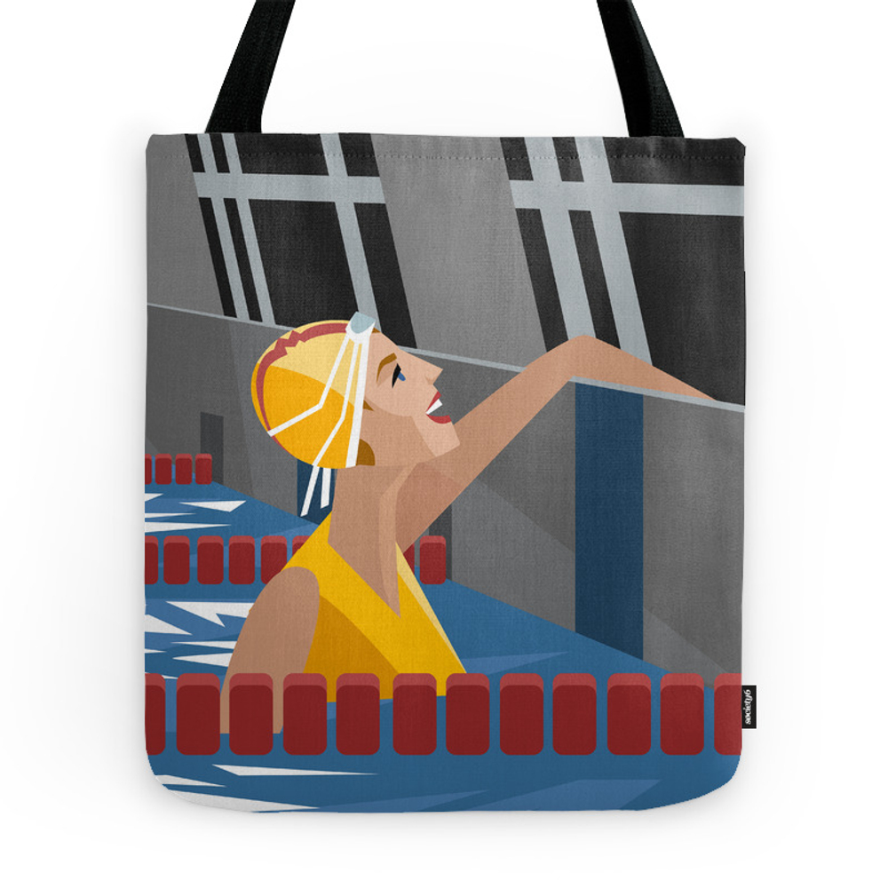 Swimming Pool Happy Smile Girl Tote Purse by matiasenelmundo (TBG7809051) photo