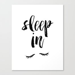 Sleep In Black and White Scandi Bedroom apartment Wall Decor for minimalist Typography Art Print Canvas Print