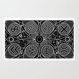 B&W Card Back from Side Effects Rug