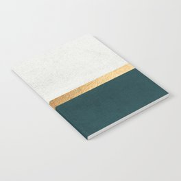 Deep Green, Gold and White Color Block Notebook
