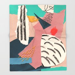 abstract collage with embroidery Throw Blanket