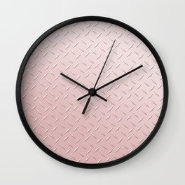 Diamond Plate Pink Wall Clock