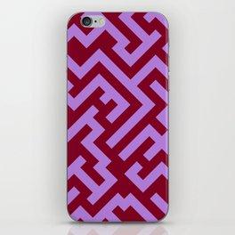 Lavender Violet and Burgundy Red Diagonal Labyrinth iPhone Skin