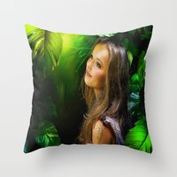 amy hamilton Throw Pillows featuring Amy by Robin Curtiss