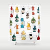 lanterns Shower Curtains featuring nautical lanterns by oleynikka
