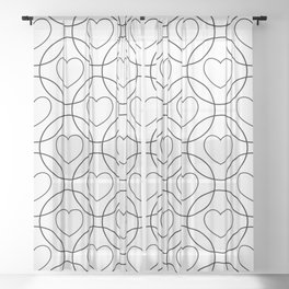 Decor with circles and hearts Sheer Curtain