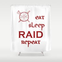 vikings Shower Curtains featuring eat-sleep-RAID-repeat red, Vikings by ZsaMo Design