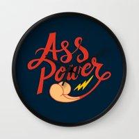 ass Wall Clocks featuring Ass Power by Chris Piascik