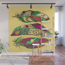 Bohemian Feathers on Honey Yellow - Hand-drawn Illustration Wall Mural
