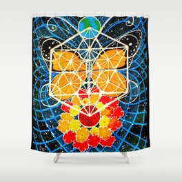 Butterfly Space Flower Galaxy Tapestry Painting Visionary Psychedelic Art (Sacred Feminine) Shower Curtain