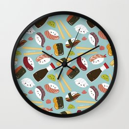 Sushi pattern (Blue) Wall Clock