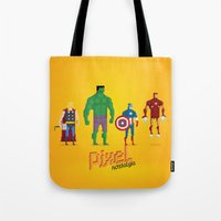 super heroes Tote Bags featuring Super Heroes - Pixel Nostalgia by Boo! Studio