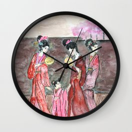 Four ancient Oriental beauties Wall Clock