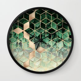 Leaves And Cubes Wall Clock