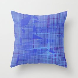 Weird blue shapes lying on purple teal stripes wavy lines Throw Pillow