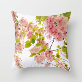 Pink Cherry Blossom Japanese Spring Beauty Throw Pillow