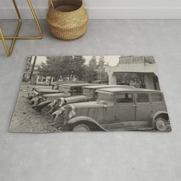 Antique Automobiles by a Dance Hall Rug