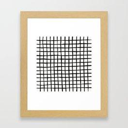 Strokes Grid - Black on Off White Framed Art Print