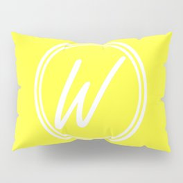 Monogram - Letter W on Electric Yellow Background Pillow Sham