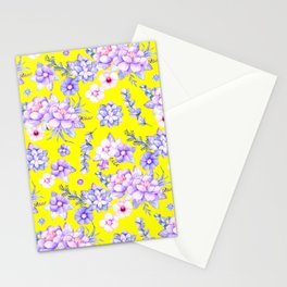 Modern elegant yellow lavender lilac pink watercolor floral Stationery Cards