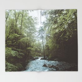 Peaceful Forest, Green Trees and Creek, Relaxing Water Sounds Throw Blanket
