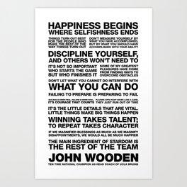 John Wooden Motivational Quotes Art Print
