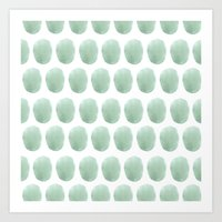 polkadot Art Prints featuring Watercolour polkadot by studio groenling