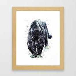 Panther watercolor painting predator animals puma Framed Art Print