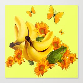 GREEN FROGS BANANAS SUNFLOWERS BUTTERFLY DESIGN Canvas Print