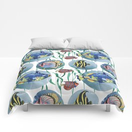 Watercolor seamless hand drawn pattern with tropical fish. Comforters