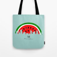 watermelon Tote Bags featuring watermelon by mark ashkenazi