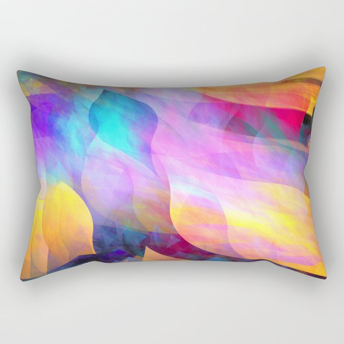 Colourful abstract with leaf shapes Rectangular Pillow