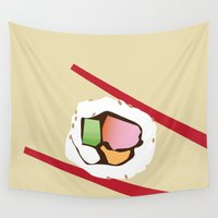 sushi Wall Tapestries featuring Sushi by Nathan Rhoads