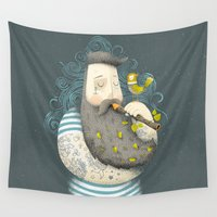 wesley bird Wall Tapestries featuring Bird by Seaside Spirit