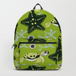 Cute ocean animals on background. Childish vector illustration of turtle, star shell and coral. Backpack