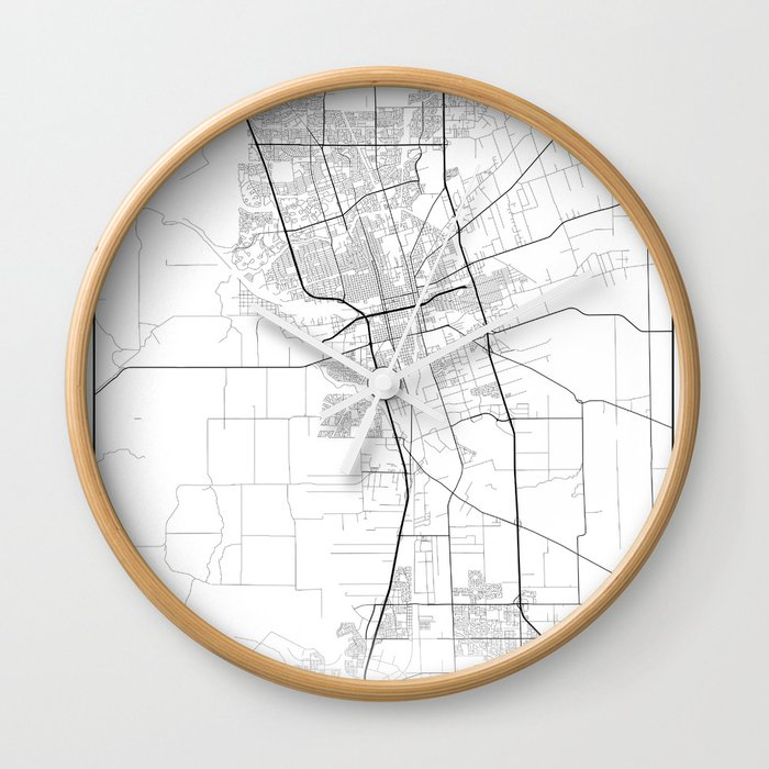 Minimal City Maps - Map Of Stockton, California, United States Wall Clock  by valsymot