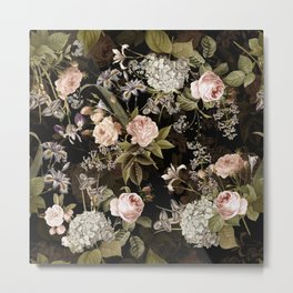 Sepia Spring Flowers Rose Midnight Botanical Garden  Metal Print