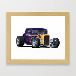Vintage Hot Rod Car with Classic Flames Framed Art Print