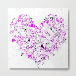 pink heart shape abstract with white abstract background Metal Print
