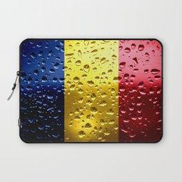 Flag of Romania - Raindrops Laptop Sleeve