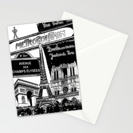 Black-and-White Paris Collage Stationery Cards