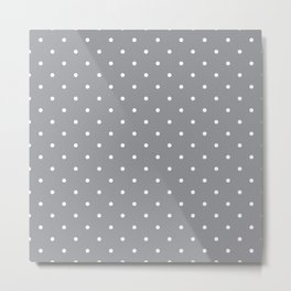 Small White Polka Dots with Grey Background Metal Print