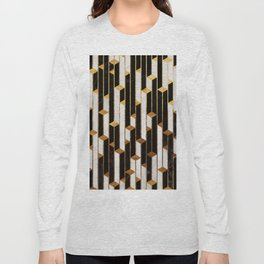 Marble Skyscrapers - Black, White and Gold Long Sleeve T-shirt