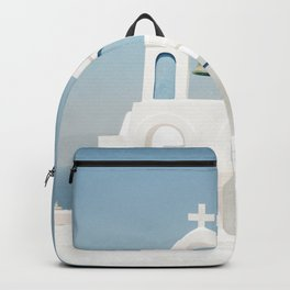 White Church with Blue Doors in Santorini, Greece Backpack